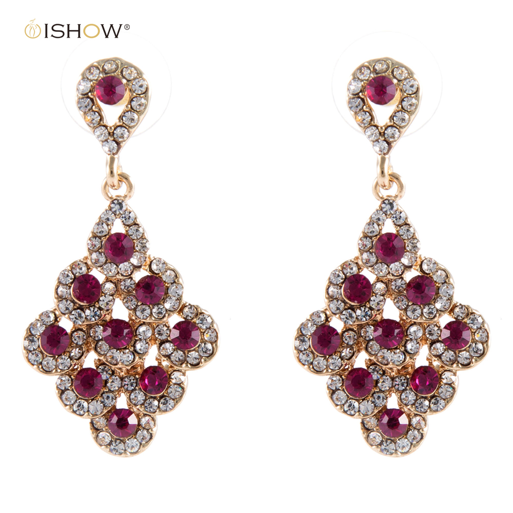 4.2 cm Crystal Bride Drop Earings Vintage Wedding Earrings Gold Top Quality Brinco State ...