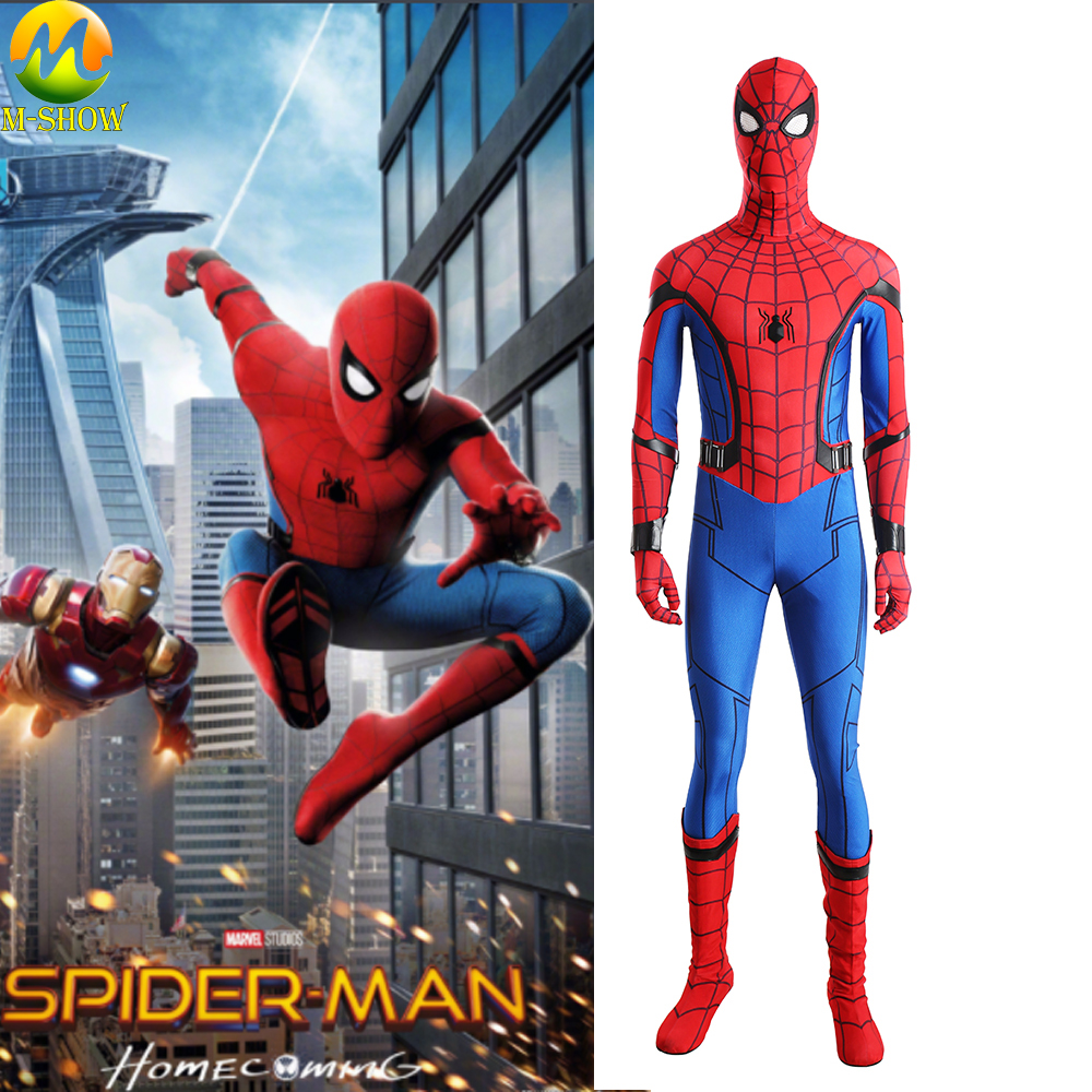 Spider-Man Homecoming Cosplay Costume Adult Spandex Spiderman Jumpsuit Boots Halloween Costumes For Men Women Custom Made