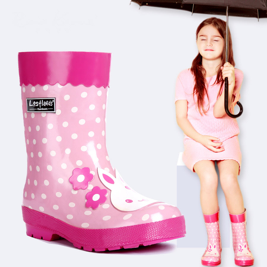Children Rainboots gumboots wellingtons infant princess Girl wellies Rabbit Patch Dots Print Waterproof Kids Overshoes Rubbers rabbit print split top