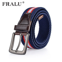 FRALU 2017 Hot Colors Men Women S Casual Knitted Belt Woven Canvas Elastic Stretch Belt Plain
