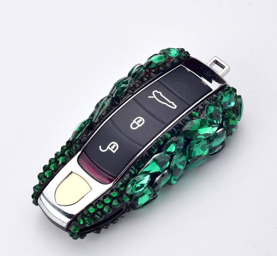 Portefeuille de luxe diamant Bling porte-clés clé intelligente coque de protection pour Porsche Macan Panamera 911 981 991 Bobst Cayenne