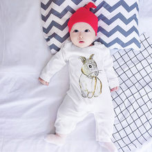 Infant Baby Jumpsuit Autumn Winter Cotton Long Sleeve Cartoon Rabbit Print Romper Jumpsuit Clothes High Quality Baby Romper(China)