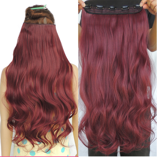 Clip In Hair Extensions Cabelo Sintetico Wine Red Mega Extension