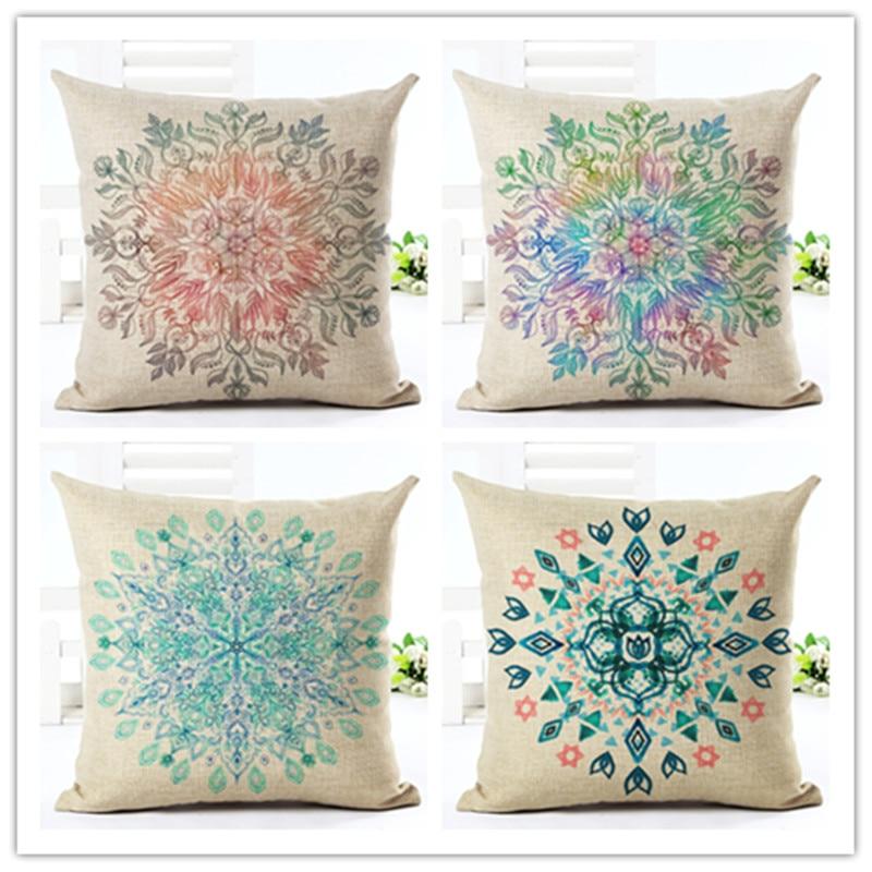 ̀ •́ 2016 patrón creativo geometría imprimir fundas algodón Lino ...