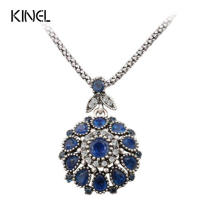 Hot 2016 Gorgeous Bohemia Vintage Jewelry Fashion Resin Silver -Plated Women For Pendant Long Necklace Crystal Gifts