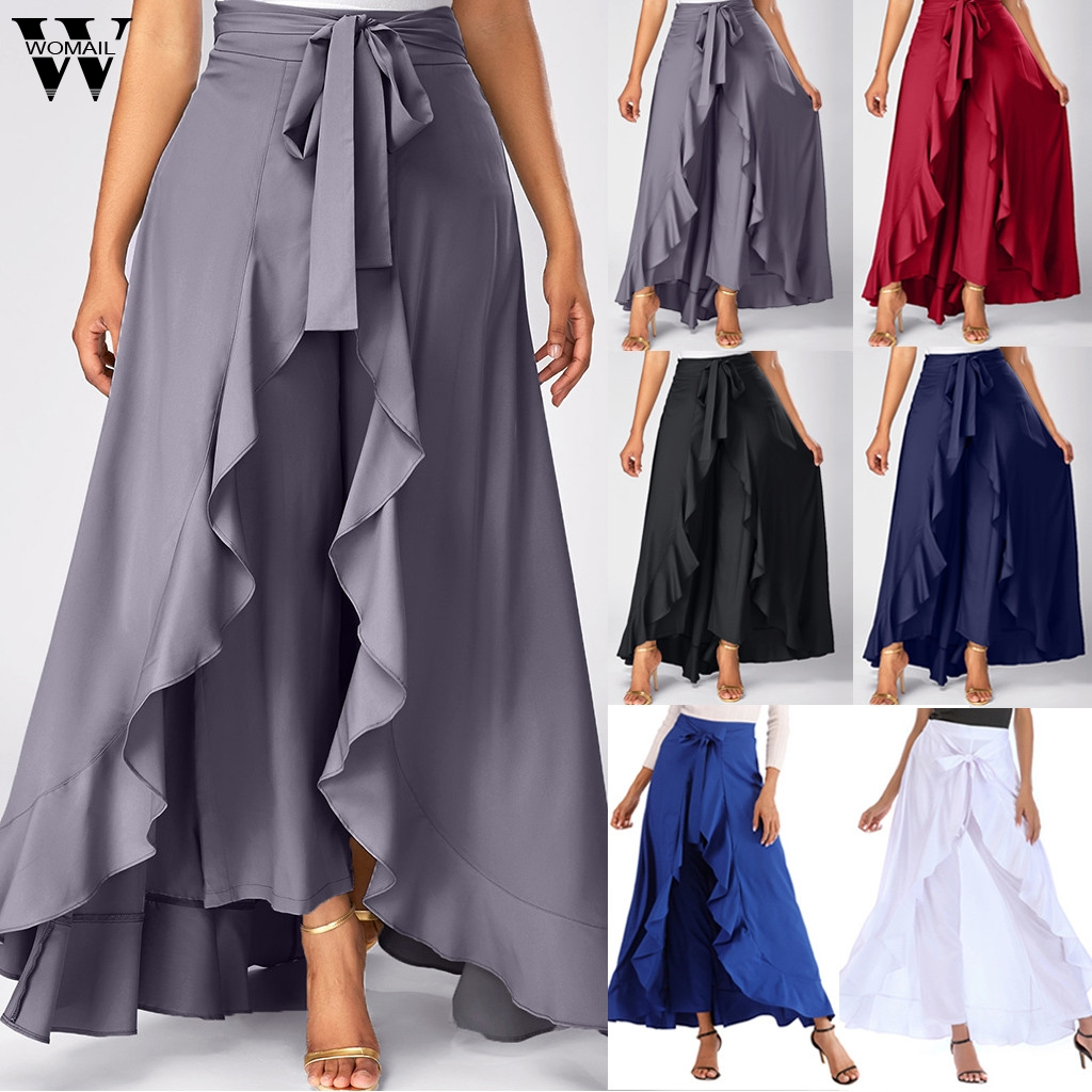 Womail Skirts 2019 New Fashion High Waist Stretch Skirt Summer High Waist A Line Bow Long Skirts For Women Casual Holiday J611