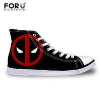 2016 Hot Sale Mens Casual Shoes Cool Cartoon Super Hero Deadpool Printed Shoes For Men Fashion
