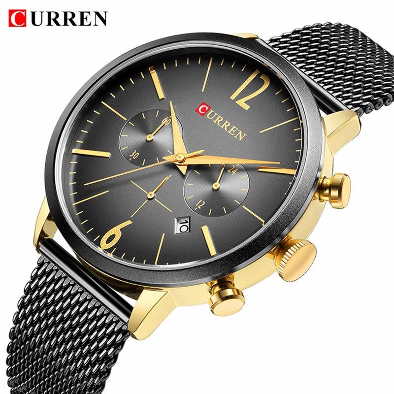 Relogio Masculino 2018 Curren Men Watches Top Brand Luxury Gold Black Quartz Watch Waterproof Sport Male Clock Casual Wristwatch цена и фото