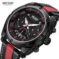 Спортивные кварцевые часы MEGIR Men'ss  Модные Аналоговые наручные часы с кожаным ремешком и хронографом для мужчин  24-часовой индикатор 2076G-BK-1