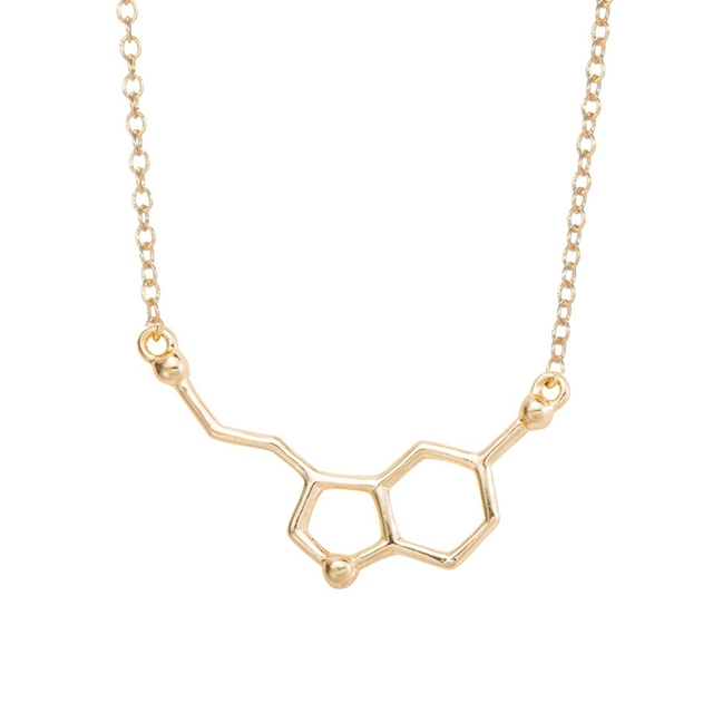 yiustar 2017 Serotonin Molecule Pendants Necklace For Women Chemistry Chokers Collar Elegant Simple Gold Silver Necklace XL012 3