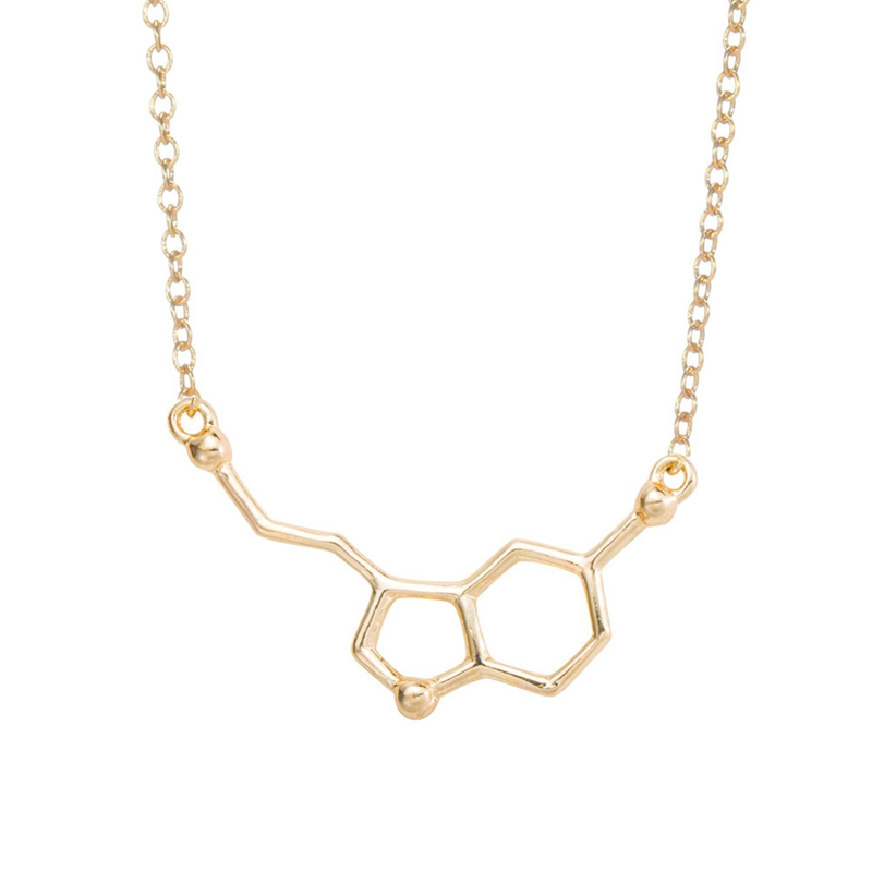 yiustar 2017 Serotonin Molecule Pendants Necklaces For Women Chemistry Chokers Collar Elegant Simple Gold Silver Necklaces XL012