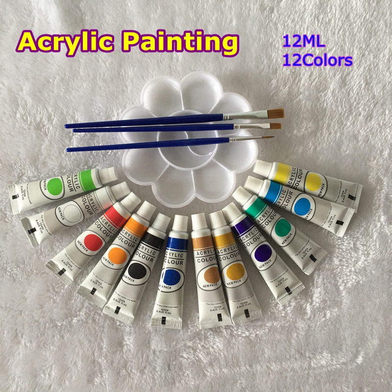 12 Colors Acrylic Paint Color Set For Artists 12 Tubes 12ML Nail Art Painting Drawing Tool Free For Brush And Paint Tray