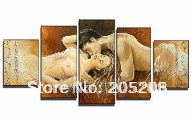 Framed 5 Panel Huge Wall Deor Nude Love Oil Painting on Canvas Modern Picture for Living Room Decoration XD00577