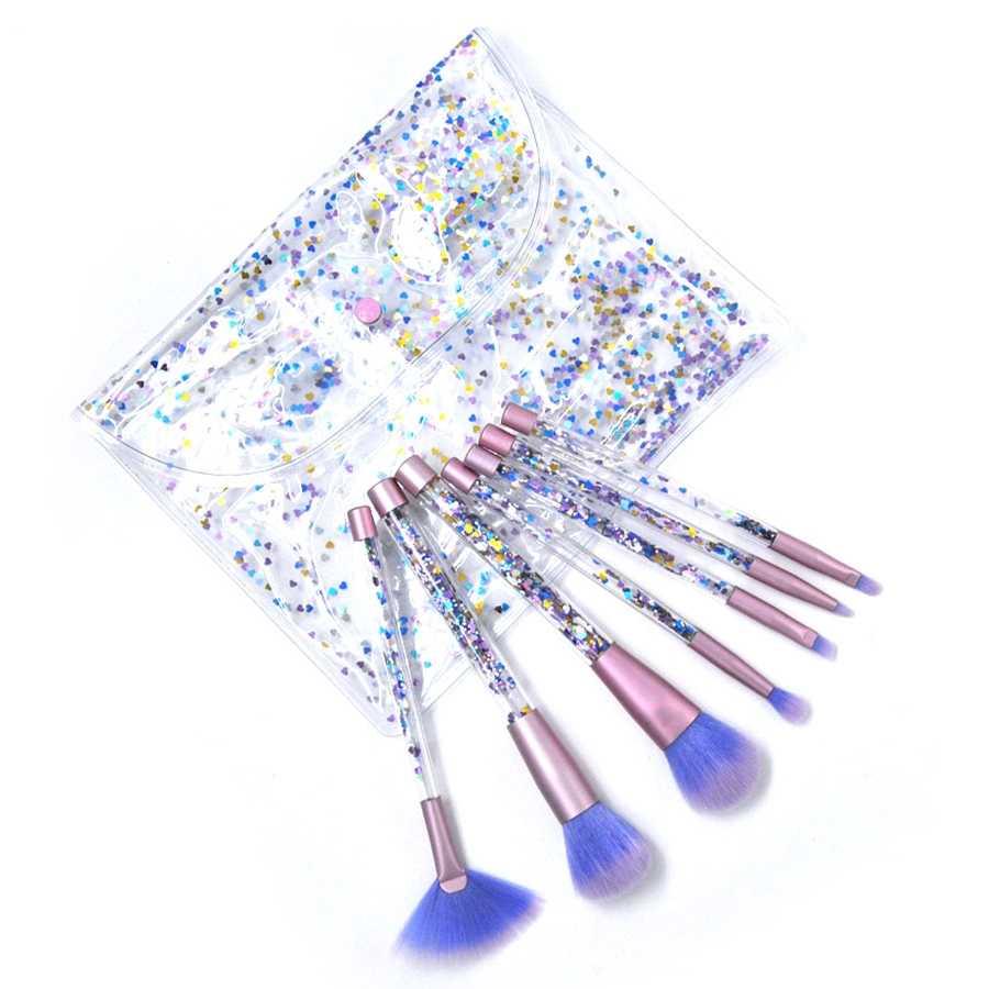 Kaizm 7 шт. набор кистей для макияжа с бриллиантами с сумкой набор кистей для Макияжа Теней для век контурная Кисть для нанесения пудры сыпучий песок с блестками