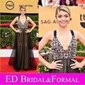 Sarah Hyland negro Tulle Champagne Rhinestones del satén vestido de la celebridad vestidos 2015 SAG Red Carpet vestido de noche