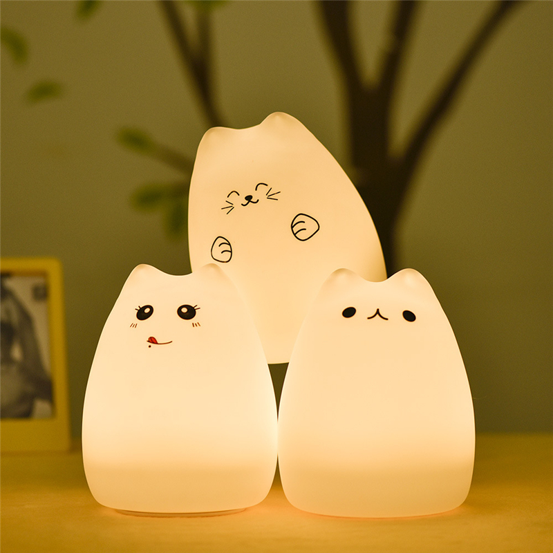 LED USB Rechargeable Cute Cat Night Light Colorful Silicone Soft Breathing Cartoon Baby Nursery Lamp For Children Gift