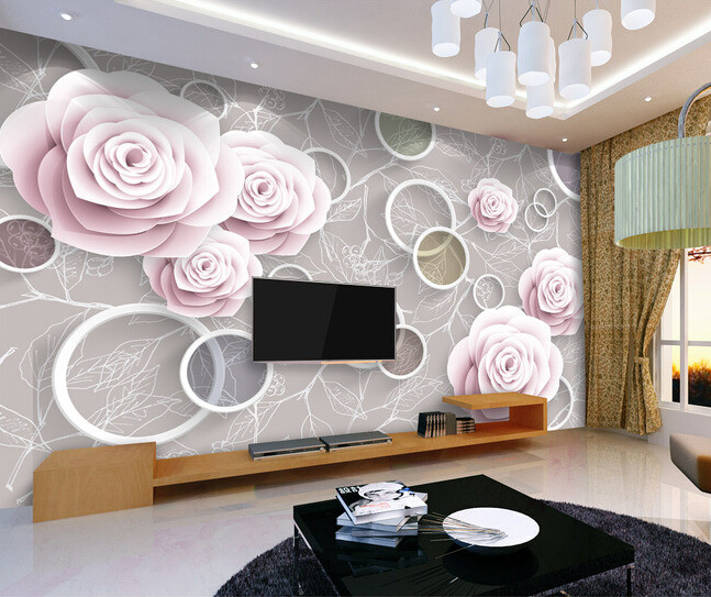 Custom flowers wallpaper 3D, rose and circle mural for the living room bedroom TV background wall waterproof papel de parede custom 3d wallpaper pink rose and butterfly mural for the living room bedroom tv background wall vinyl papel de parede