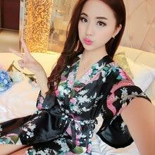 Летнее платье шелковый халат женский пижамы сексуальный халат халаты для женщин мантии белье пижамы Ночная рубашка кимоно пижамы
