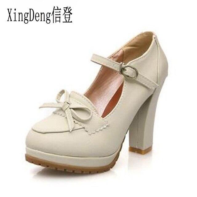 XingDeng Women Sweet Bowtie Platform Pumps 11 Cm High Heels Lolita Shoes  Japanese Uniform Shoes Cosplay Shoes Size 34-39 b960da5668fc