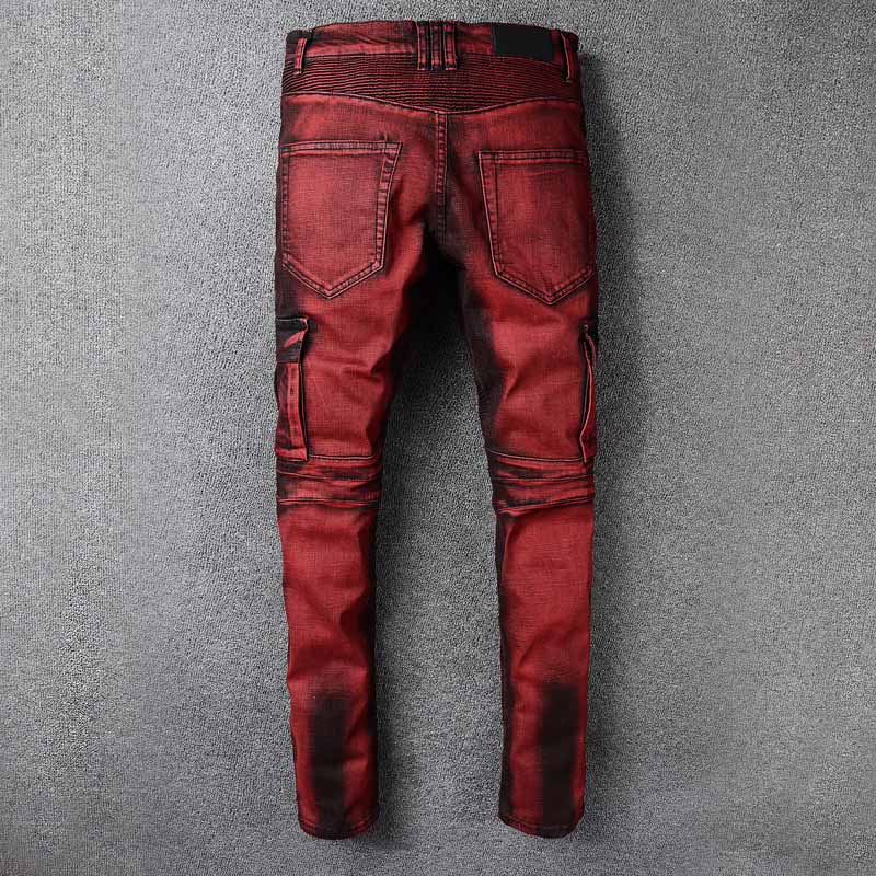 Mcikkny Men\`s Slim Jeans Multi-pockets Straight Motorcycle Denim Trousers Fashion Designer Streetwear Jean Joggers Size 28-42 (3)