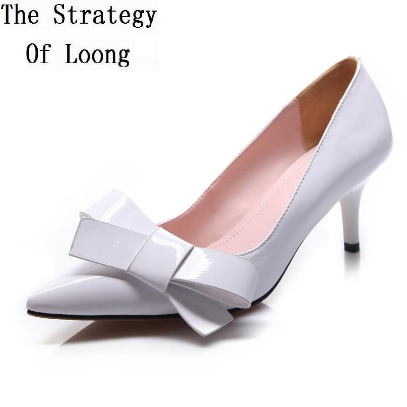 Pointed Toe Pure Colors Bowknot Thin Heels Women Shoes Genuine Leather Woman Pumps 2018 New Arrival Fashion Sexy Lady Shoes bowknot pointed toe women pumps flock leather woman thin high heels wedding shoes 2017 new fashion shoes plus size 41 42