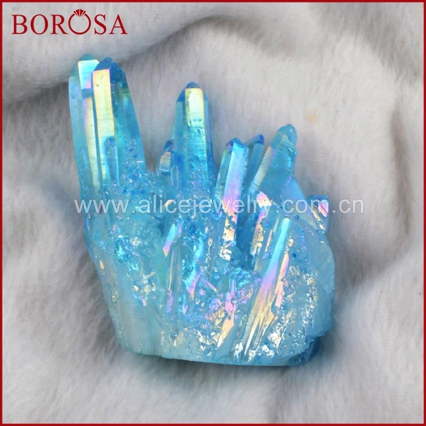 все цены на BOROSA 1KG Rainbow Crystal Cluster, Rainbow Aura Quartz Titanium Crystal Healing Cluster Druzy Jewelry Original Stone C0001