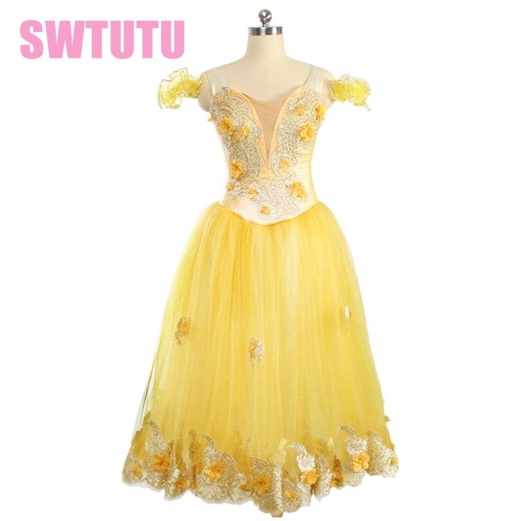 Filles jaune or fleur fée professionnel tutu costumes de scène de ballet femmes longue jupe professionnel ballet tutu BT9167