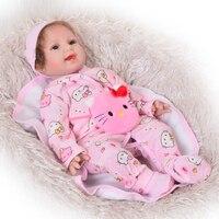 Cutural 55 см Bebe Reborn Девушка Мягкий Силиконовый Куклы новорожденных улыбка девушки 22 ''Симпатичные Reborn Baby Doll ткани тела детские Рождественские п