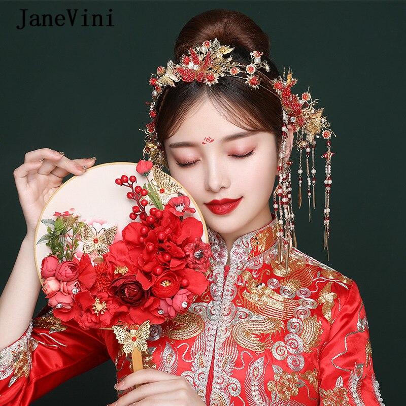 JaneVini épingles à cheveux de mariée perlées chinoises de luxe avec boucles d'oreilles couronne Coronet définit les accessoires de mariage de coiffure de mariée ancienne