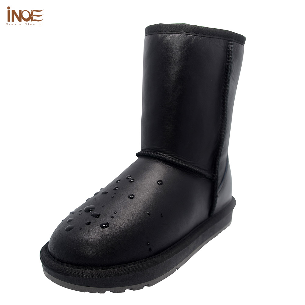INOE Classic mid-calf real men sheepskin leather sheep fur lined winter snow boots for man winter shoes waterproof black grey double buckle cross straps mid calf boots