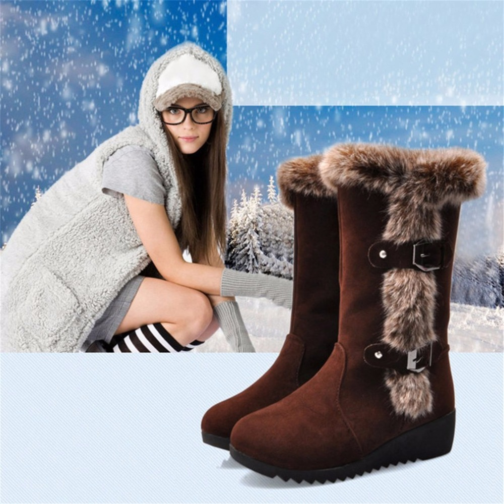 2017 Women Casual Snow Boots Fur Warm Winter Round Toe Knee High Boots Wedge Heel Anti Slip Height Increase Platform Shoes muffin wedge high heel stretch women extreme fetish casual knee peep toe platform summer black slip on creepers boots shoes