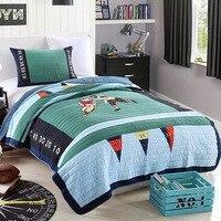Америка Стиль дети Стёганое одеяло комплект 2 шт. ручной работы лоскутное покрывало аппликация хлопок Стёганое одеяло s покрывало Twin Размер