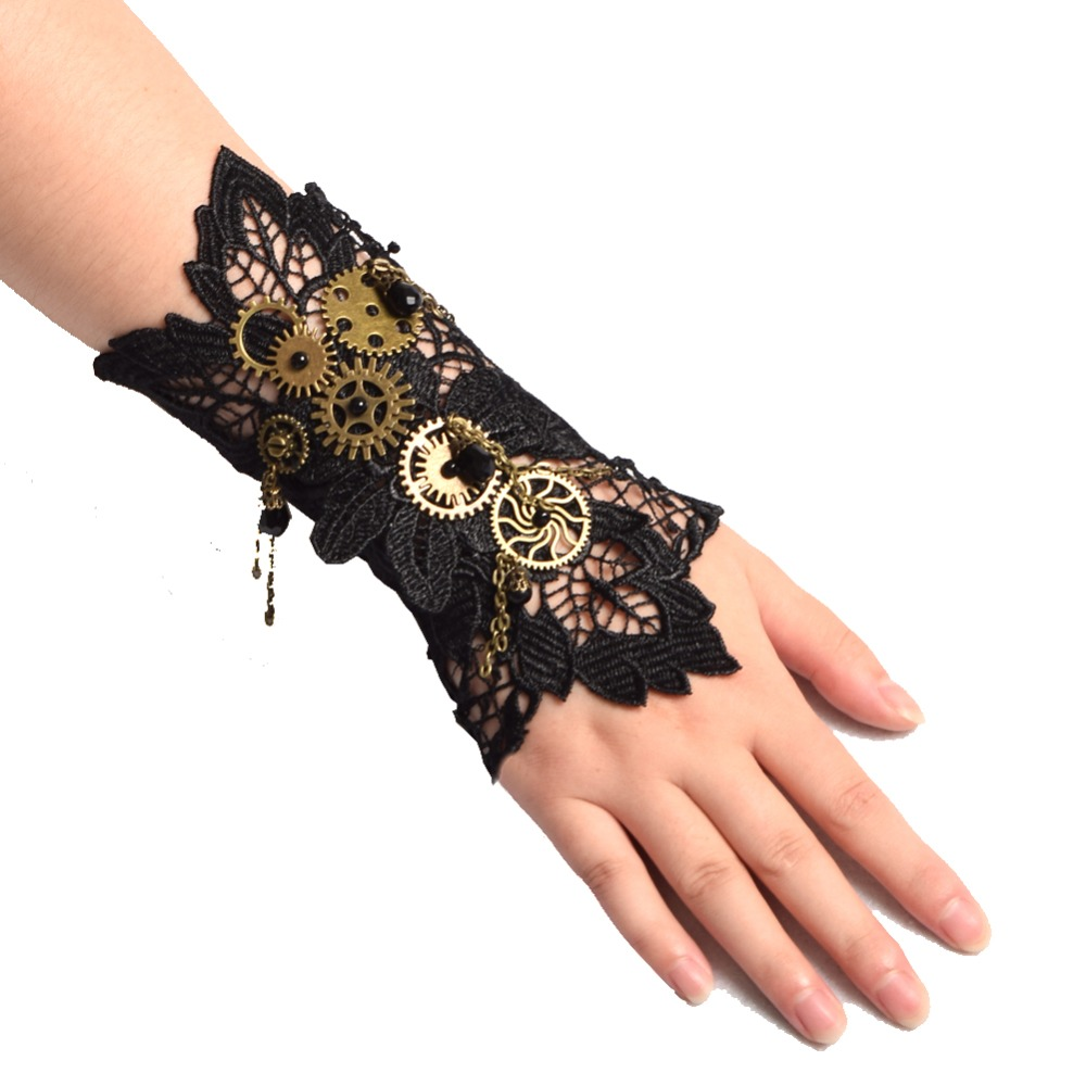 Vintage Steampunk Gloves Wrist Cuff Gear Retro Black Victorian Bracelet Costume Accessories Single Lace Bracer Armband