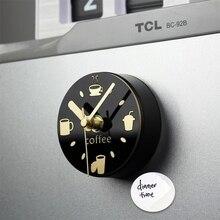 Free Shipping Black Home Decorative Coffee Kitchen Clock Silent Magnet Clock Refrigerator Watch Reloj de Pared Wall Clock