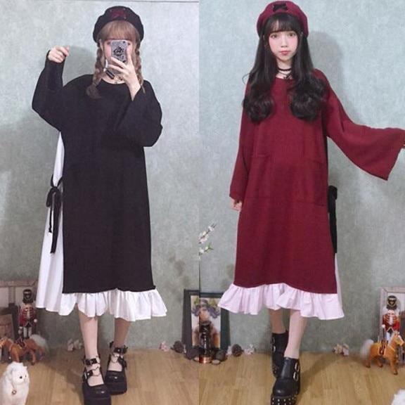 7e4242c30e4 Japanese Plus Size Dress 2018 Lolita Dress For Women Harajuku Female  Patchwork Fake Two Piece Bandage