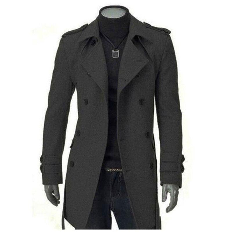 Abrigo Largo Hombre Grueso Delgada Casual black Invierno Cruzado 2018 Chaqueta Gray Para Caliente Viento De USwXXa