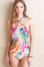NEW fresh floral one piece swimsuit triangle halter one piece bright floral monokini sexy backless swimwear