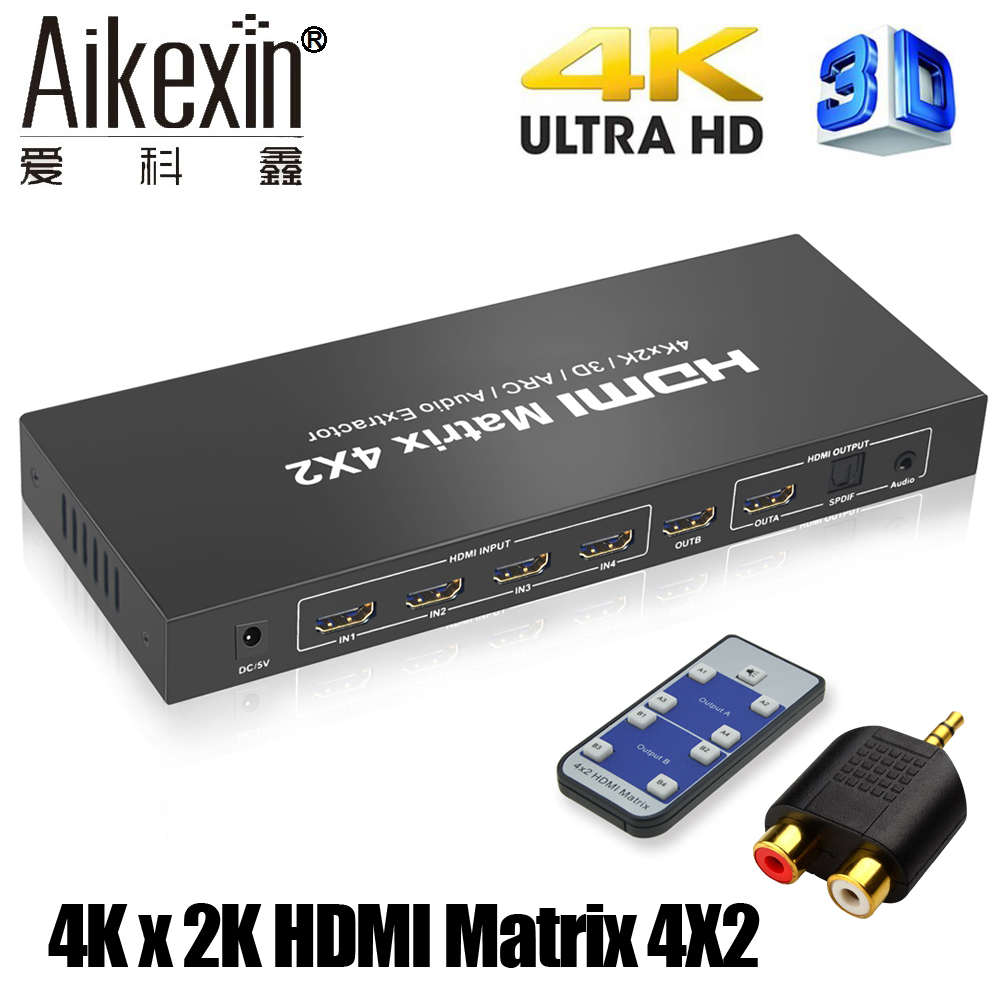 Aikexin HDMI Matrix 4X2 Switch Splitter Converter Adapter with Remote Control Full HD 4Kx2K 3D 1080P HDMI Matrix 4 In 2 Out aixxco hdmi v1 4 hdmi matrix 4x2  4 to
