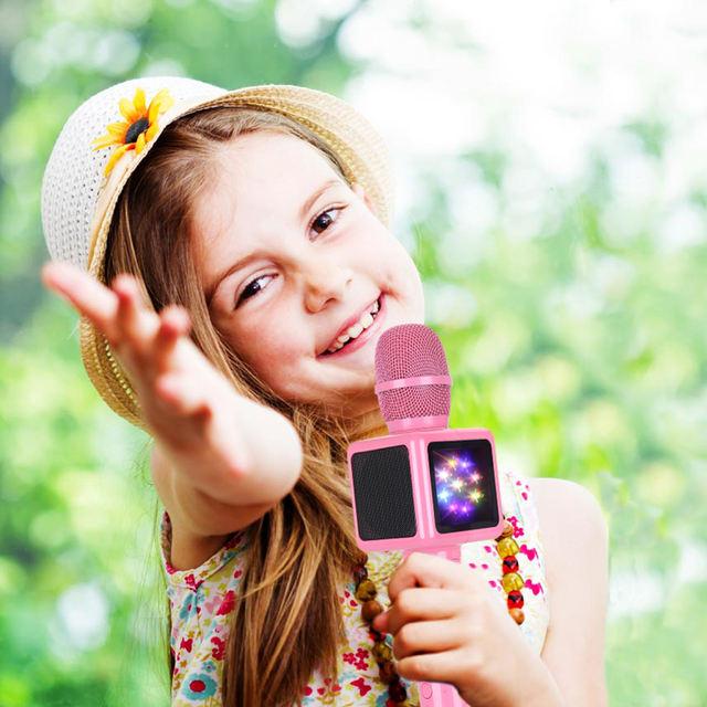 Wireless Bluetooth Handheld Microphone with RGB Disco Light