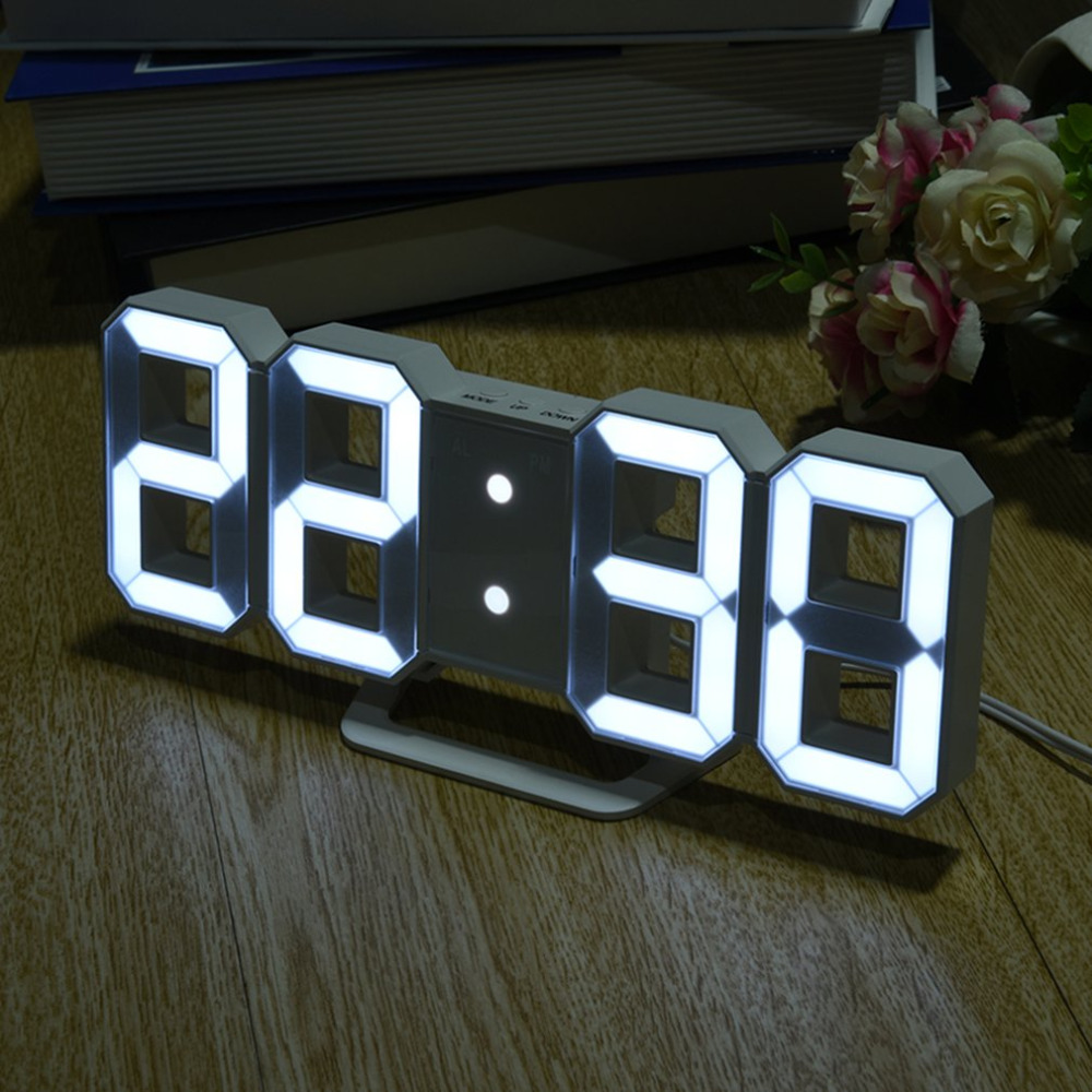 Table-Clocks Led-Display Desktop Digital Multi-Use 8-Shaped of 3-Levers Snooze Usb-Charge