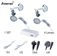 Led cabinet light for kitchen closet wardrobe DC12V round SAA UK EU US plug lamp 2 meter cable 1 set super smart Joneaz