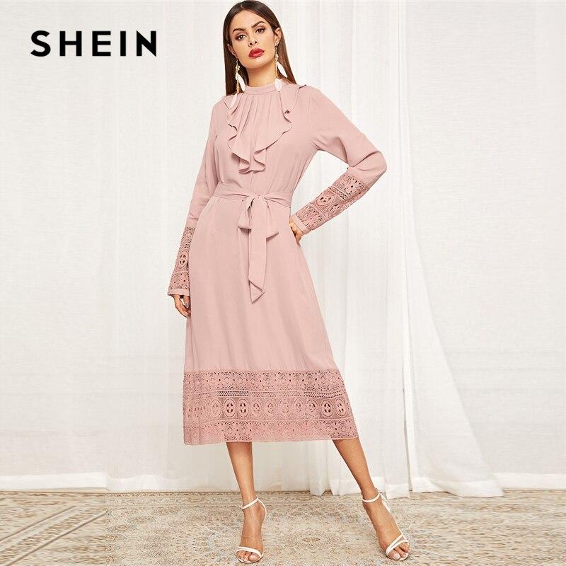 SHEIN розовые плиссированные юбки оборками и гипюрное кружево для отделки поясом Цельнокройное длинное однотонное платье Для женщин весна эл...