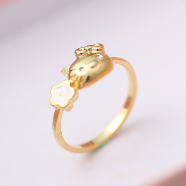 6aa24e914 New Fashion Cat Hello Kitty Ring KT Jewelry For Girls Ring Cute Mini  Classic Animated Cat Gold Ring shipping