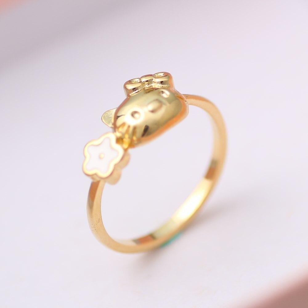 1PC Kawaii Hello Kitty Ring Adjustable with Rhinestone Crystal Ring Jewelry Girl