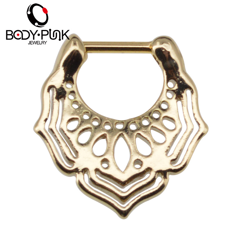 BODY PUNK arany orrgyűrű Piercing Feminino ékszer orr szeptum Clicker orr karika Piercing Mandala szeptum orr Stud SPT 004