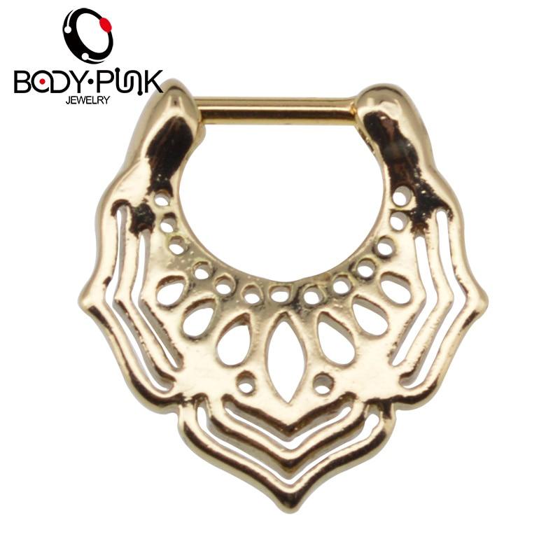 BODY PUNK ოქროს ცხვირის ბეჭედი Piercing Feminino სამკაულები ცხვირი Sepum Clicker ცხვირის ჰოოპ Piercing Mandala Sepum ცხვირის Stud SPT 004