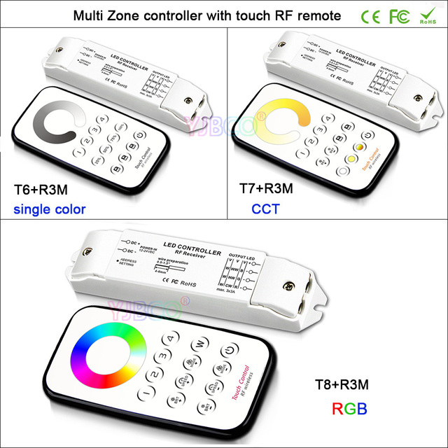 Bincolor Multi Zone control dimming/CCT/RGB Max 3x3A RF wireless remote with Receiver controller for LED Strip Light,DC12V-24V