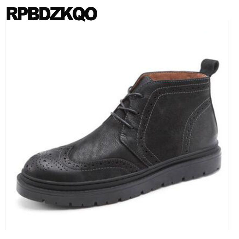 Black Full Grain Formal Shoes Winter Men Boots With Fur Ankle Wingtip Dress Handmade Oxford Booties Real Leather Brogue GenuineBlack Full Grain Formal Shoes Winter Men Boots With Fur Ankle Wingtip Dress Handmade Oxford Booties Real Leather Brogue Genuine
