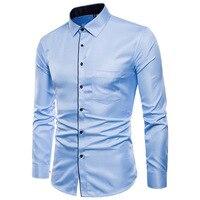 Blue Men Shirt Long Sleeve Slim Design Shirts Man Asian Size S 5XL Mens Leisure Shirts