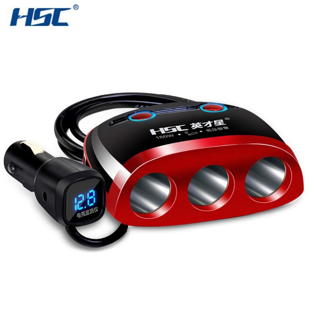 HSC YC-09B 3 гнезда режим автомобиль стиль зажигалки распределения адаптер питания 2 dual <font><b>USB</b></font> Автомобильное зарядное устройство для univeral телефон 9 В &#8230;